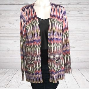 Chico's NWT Mixed Geo Canvas Cardigan Sweater